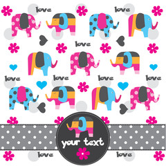 cute elephant pattern greeting card