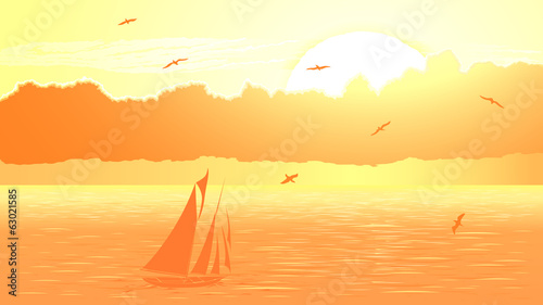 Vector sailboat against orange sunset.