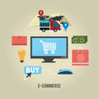 E-commerce infographic concept of purchasing