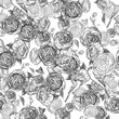 Vintage seamless monochrome roses pattern