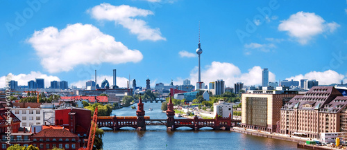 canvas print picture aerial photo berlin skyline