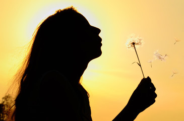 silhouette of girl blowing to dandelion