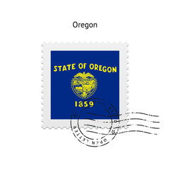 State of Oregon flag postage stamp.