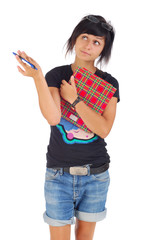 female student with red folder ponders, looking aside