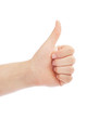Thumbs up man's hand isolated on white background