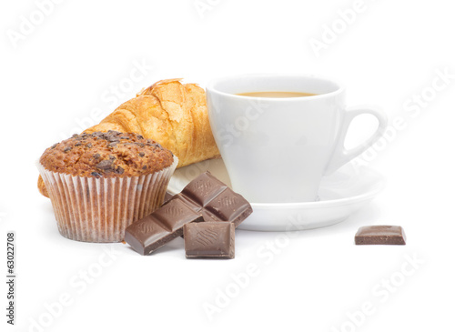 Coffee cup with croissant and chocolate