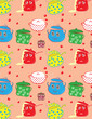 Funny pots,pans and lids-seamless pattern