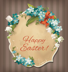 Easter vintage card with flowers. Vector