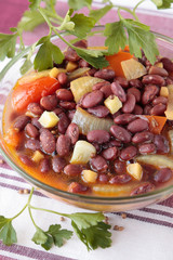 Red beans, stewed with spices, tomatoes