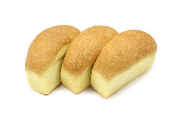 a few loaves of bread on a white background