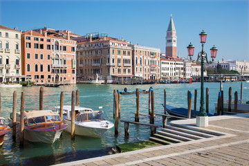 Venice - Canal grande and boats and bell tower