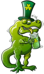 T-Rex having trouble with his short arms when drinking beer