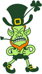 Leprechaun Grumbling, Clenching his Fists and Preparing to Fight