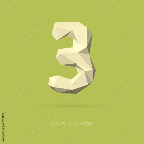 Low Poly Alphabet Number 3
