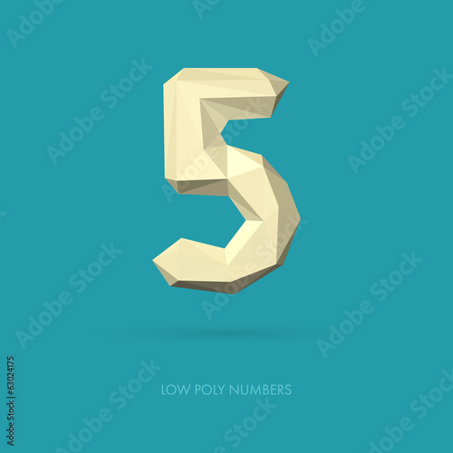 Low Poly Alphabet Number 5