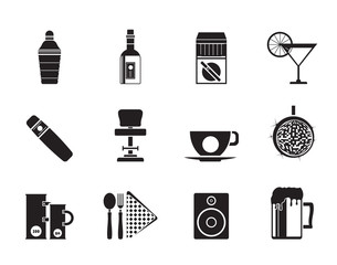 Silhouette Night club, bar and drink icons