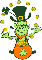 Green Leprechaun Juggling with Gold Coins