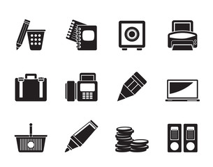 Silhouette Business, Office and Finance Icons - Vector Icon Set