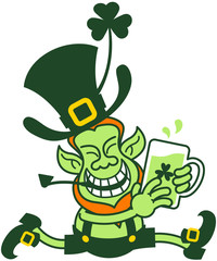 Green Leprechaun Running while Holding a Glass of Beer