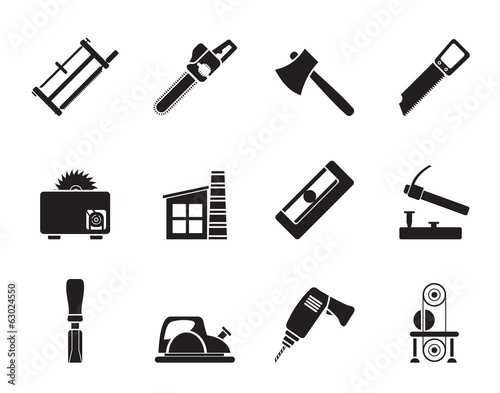 Silhouette Woodworking industry and Woodworking tools icons