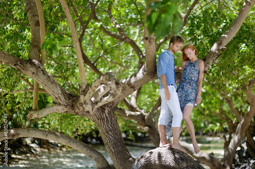 Young couple on a tropical island