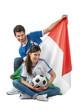 Mondiali calcio - Ragazzo e ragazza tifosi Italia