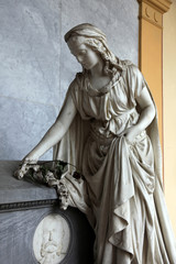 Mourning sculpture on a Mirogoj cemetery, Zagreb, Croatia