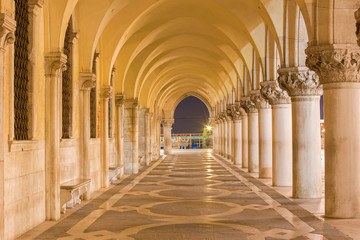 Venice - Exterior corridor of Doge palace in dusk.
