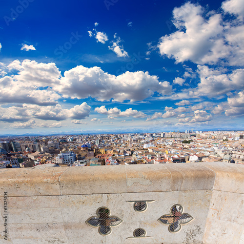Valencia aerial skyline from el Miguelete tower Spain