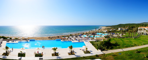 Panorama of the beach at luxury hotel, Peloponnes, Greece