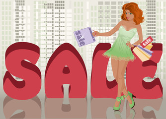 Shopping girl in city, vector illustration