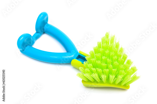 green dishwashing brush