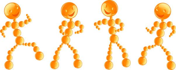 Robots danseurs oranges