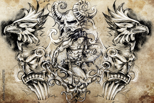 ancient warrior, Tattoo sketch, handmade design over vintage pap