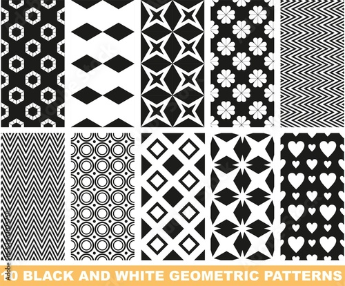 Set of black and white seamless patterns