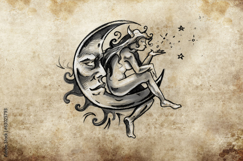 fairy sitting on the moon, Tattoo sketch, handmade design over v