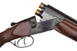Opened double-barrelled hunting loaded gun closeup isolated
