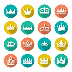 Set flat icons of crown