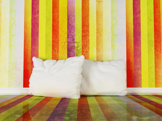 pillows in the colorful room