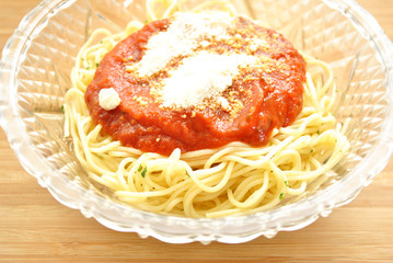 Spaghetti with Sauce and Grated Cheese