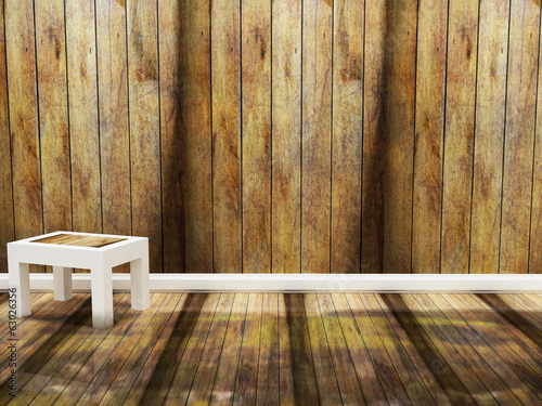 wooden chair in an empty room