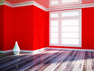 a white vase in the red room