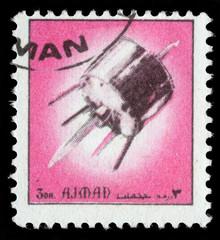 Stamp printed in emirate Ajman show spaceship, circa 1972