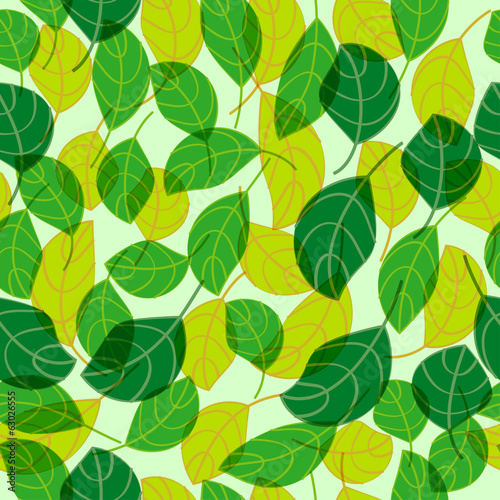 Green and Yellow Leaves Seamless