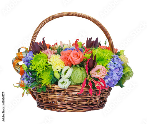 Flower bouquet in wicker basket