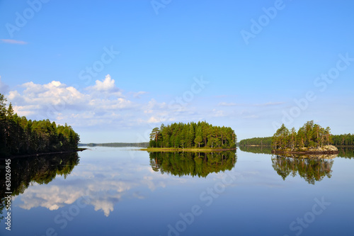 Morning calm. Lake Engozero, North Karelia, Russia