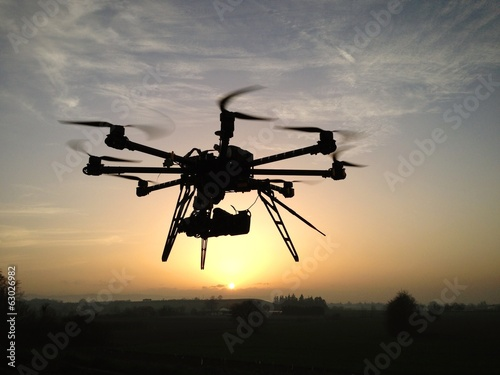 Drone in the sunset