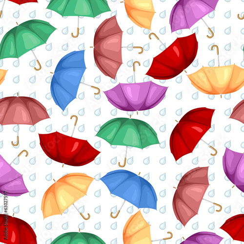Multicolor umbrellas pattern seamless