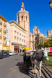 Valencia cathedral and Miguelete in plaza de la Reina