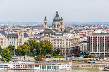 Cityscape of the Hungarian capital Budapest with St Stephen's Ba